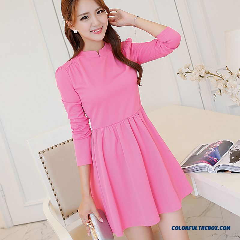 Winter New Women Stitching Ladies Fashion Solid Color Stand Collar Long-sleeved Dress