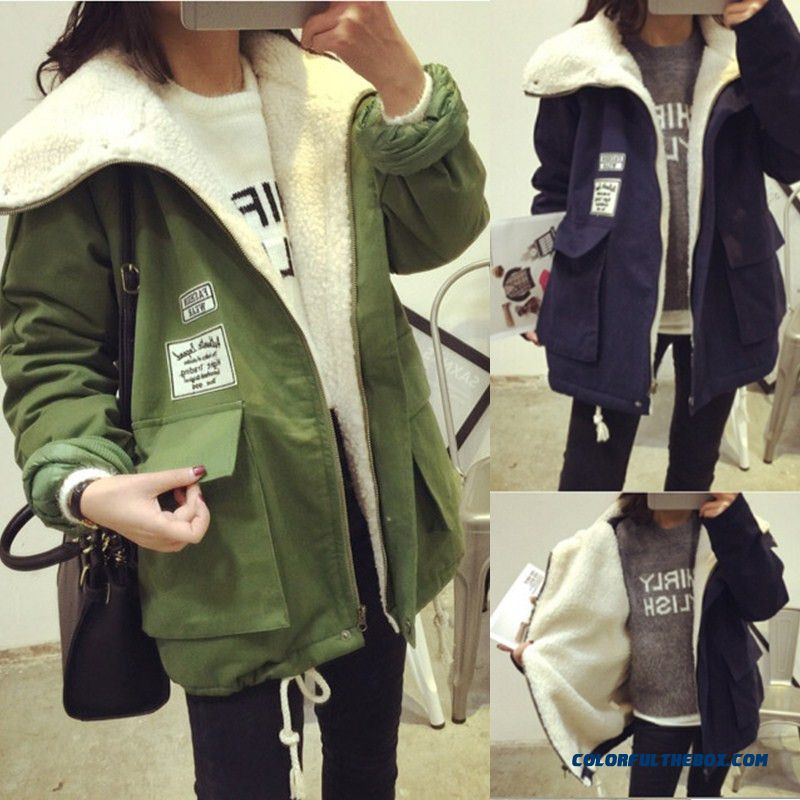 Winter New Women's Coat Medium Length Thicken Green Blue Lambs Wool Cotton-padded Clothes