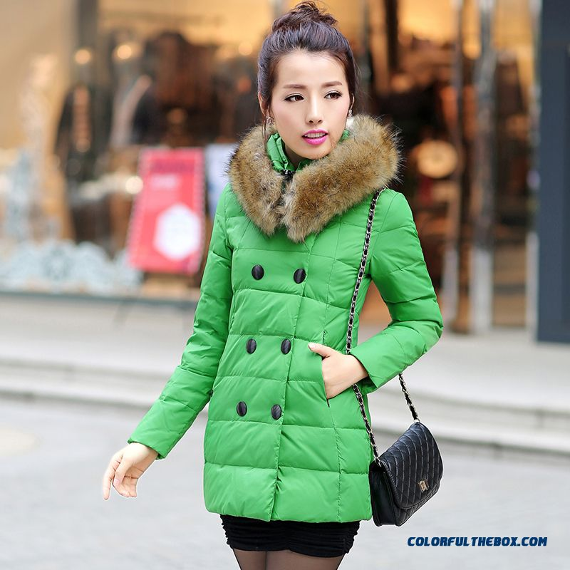 Winter New Women's Fur Collar Coats Mode Slim Medium-long Green Yellow Red