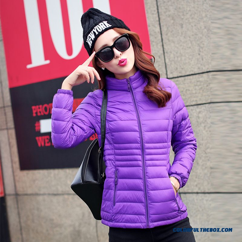 Winter New Women's Hooded Coat Warm Short Stand Collar Thin Purple Large Down Jacket