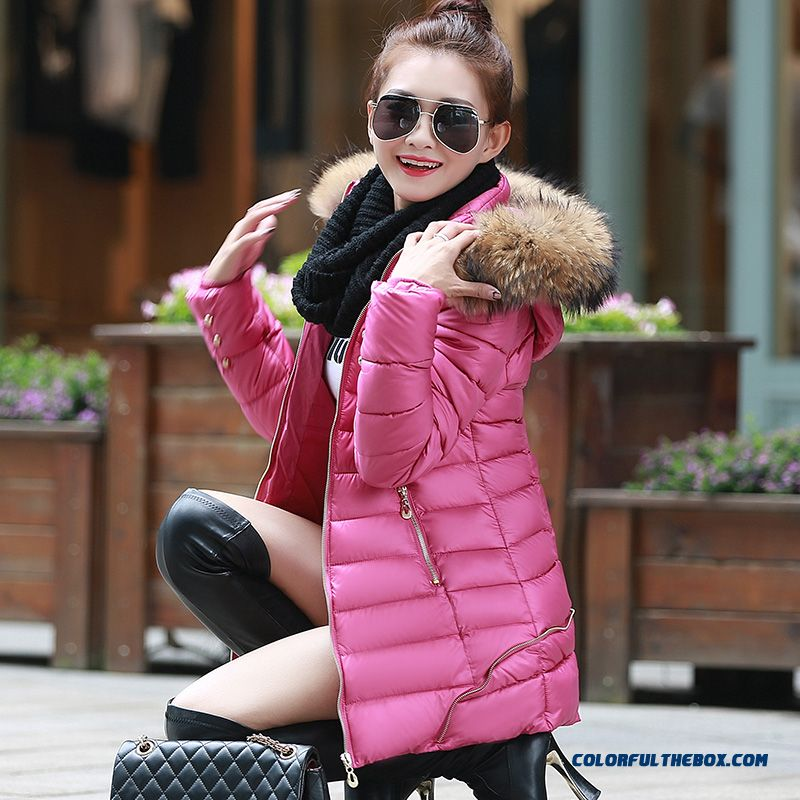 Winter New Women's Hooded Coatlong Large Red Fur Collar Thick Padded Jacket Tide
