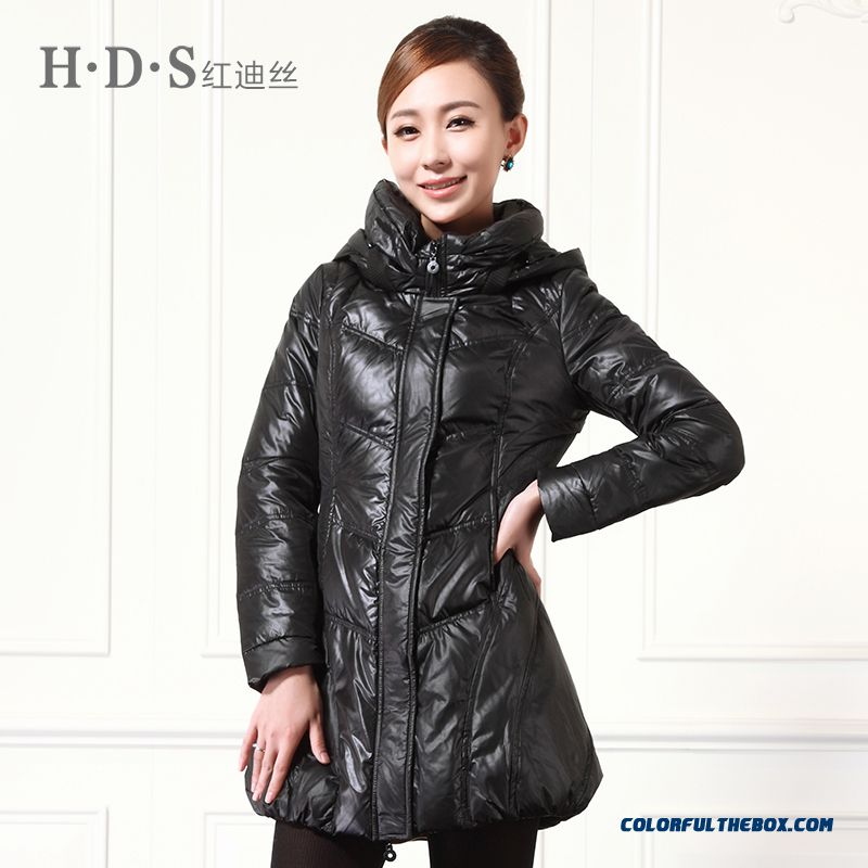 Winter New Women's Hooded Coats Thicken Medium-long Black Brown Keep Warm - more images 1