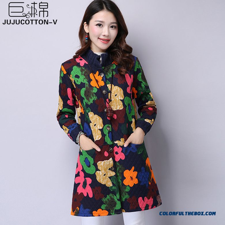 Winter New Women's National Wind Retro Print Long-sleeved Cardigan Jacket Collar Loose Coat Tide