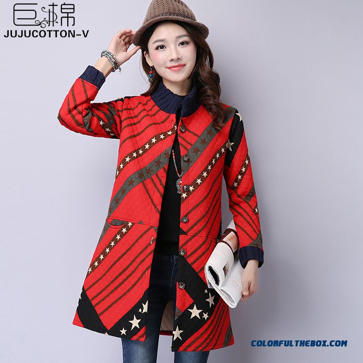 Winter New Women's National Wind Retro Print Stand Collar Loose Jacket