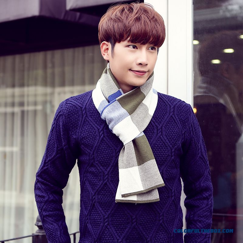 Winter Outdoor Sports Essential Men's Accessories High-end Business Plaid Scarf - more images 1
