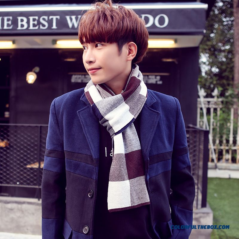 Winter Outdoor Sports Essential Men's Accessories High-end Business Plaid Scarf - more images 2