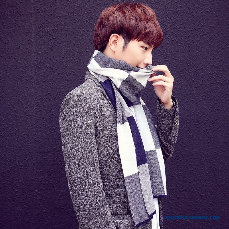 Winter Outdoor Sports Essential Men's Accessories High-end Business Plaid Scarf - more images 3