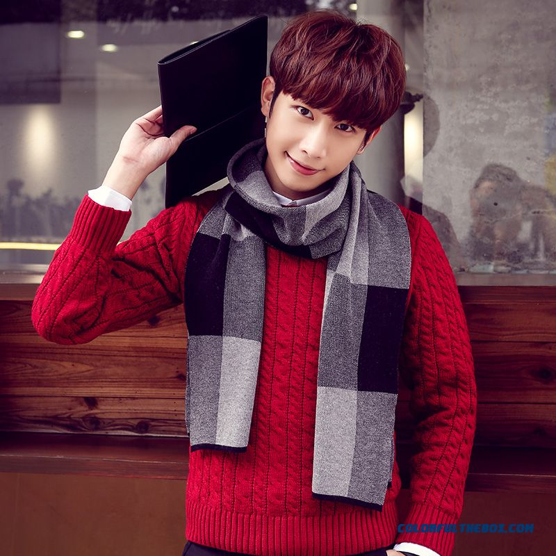 Winter Outdoor Sports Essential Men's Accessories High-end Business Plaid Scarf - more images 4