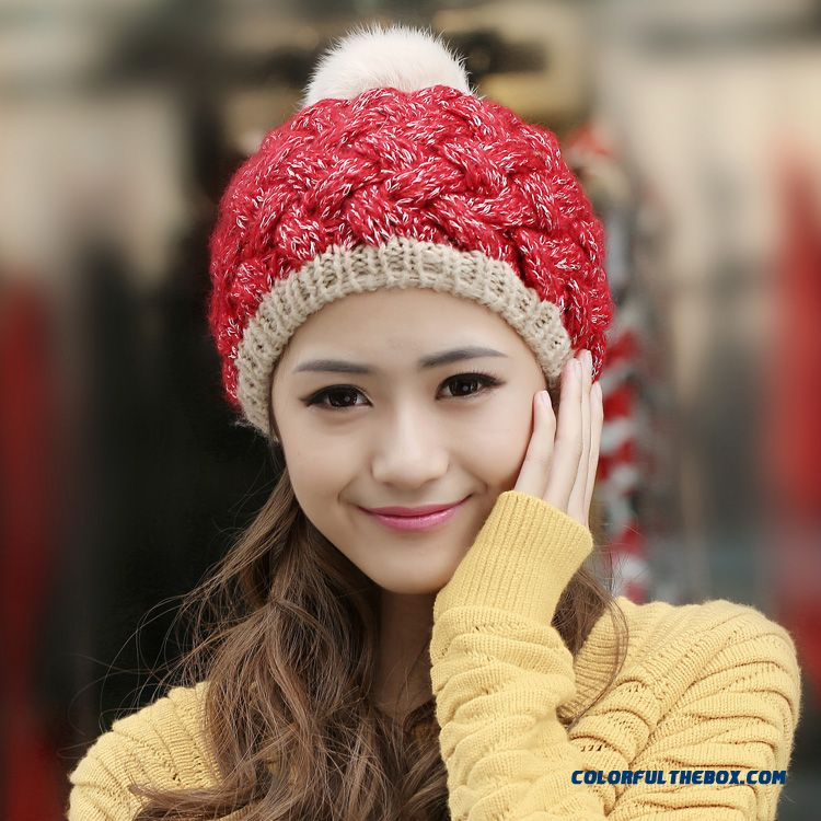 Winter Pineapple Jacquard Thickening Women Fashion Cute Angora Cap Knitted Hat