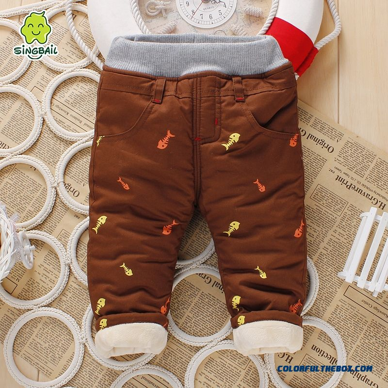 Winter Plus Thick Velvet Baby Kids Fish Bone Pattern Long Pants For Boys