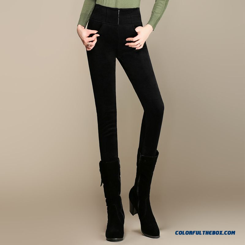 Winter Plus Thick Velvet Corduroy Women Casual Slim Large Size Elastic Thin Corduroy