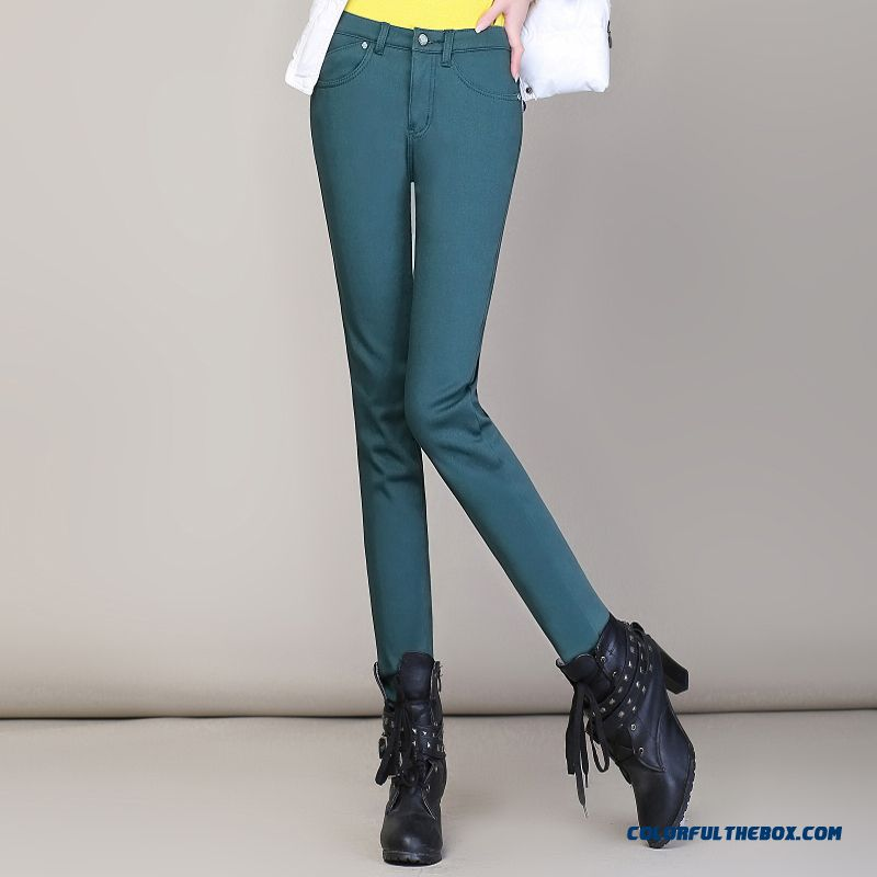Winter Plus Thick Velvet Stretch Cotton Pencil Bottoming Large Size Women Pants