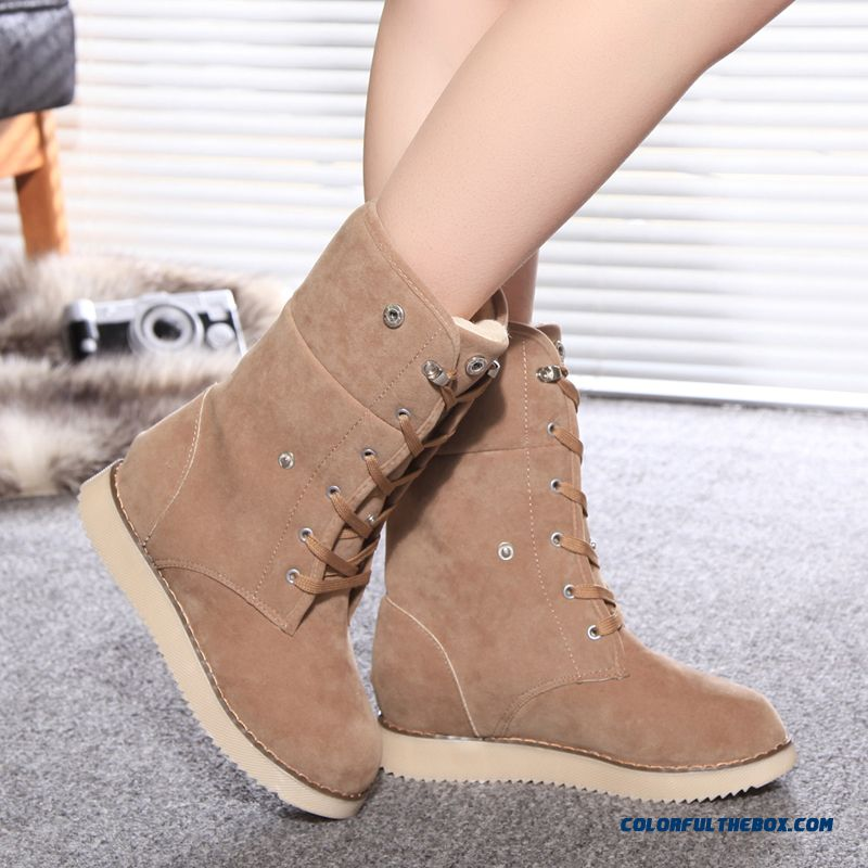 Winter Plus Velvet Nubuck Leather Half Boots Warm Flat Anti-skid Women Shoes