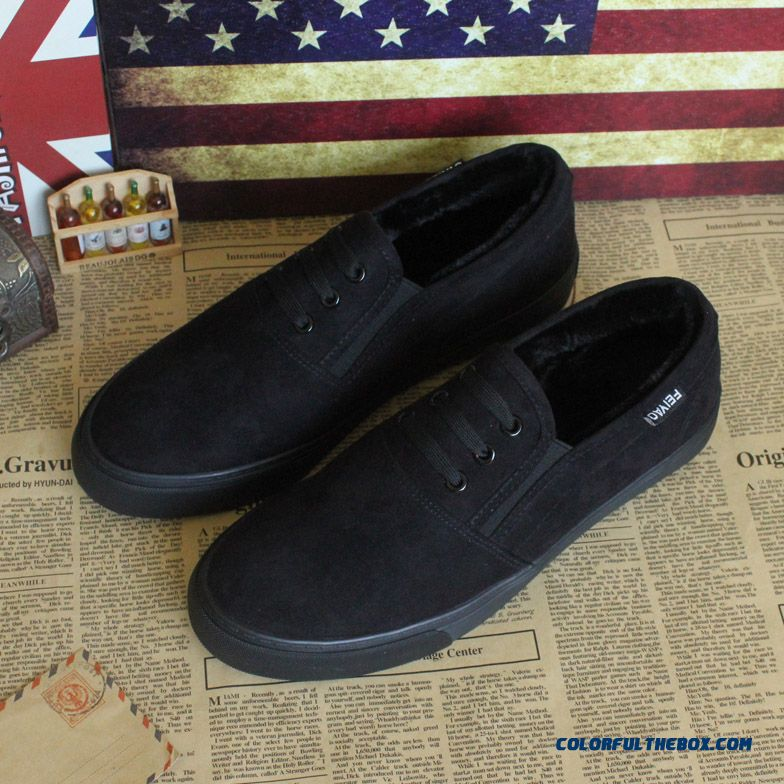 Winter Pure Black Canvas Shoes All Black Flats Shoes Without Shoelace Lazy Shoes Plus Velvet Cotton For Men