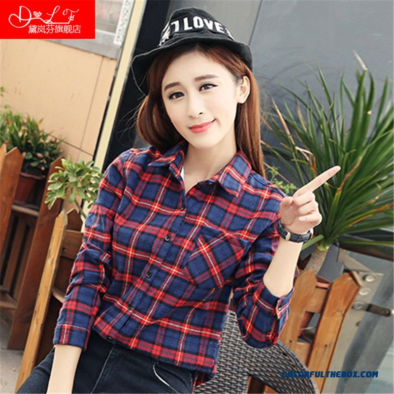 Winter Retro Lattice Plus Velvet And Thicken Girl Shirts Free Shipping