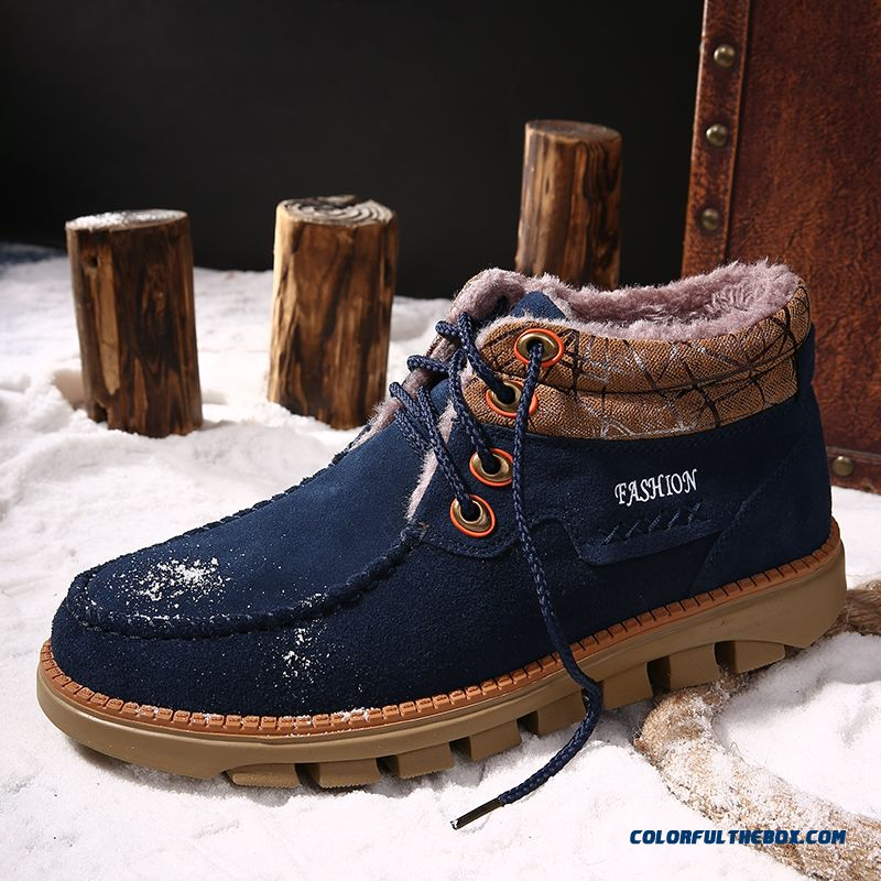 Winter Snow Boots Men Winter Genuine Leather Skid-resisting Short Shoes