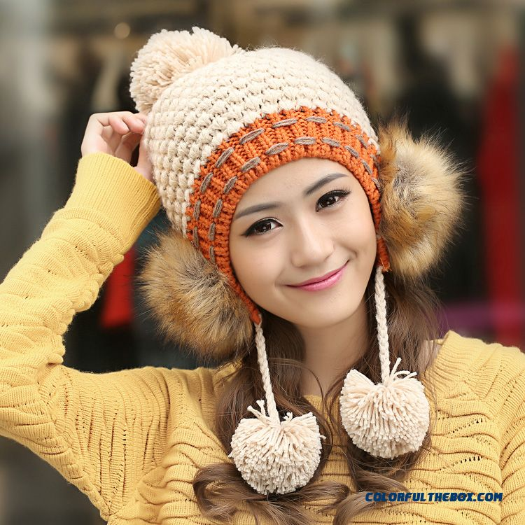 Winter Spell Color Ear Protection Hair Lanyard Hairball Ladies Lovely Wool Kinted Cap For Women