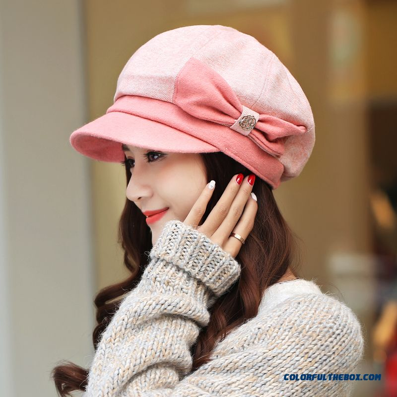 Winter Stylish Bowknot Peaked Cap Winter Octagonal Cap Fisherman Caps For Young Women