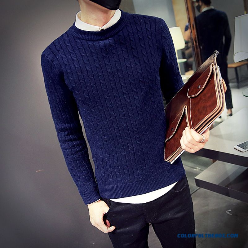 Winter Sweater Solid Color Slim Round Neck Knitwear Bottoming Shirt Long Sleeve Pullover
