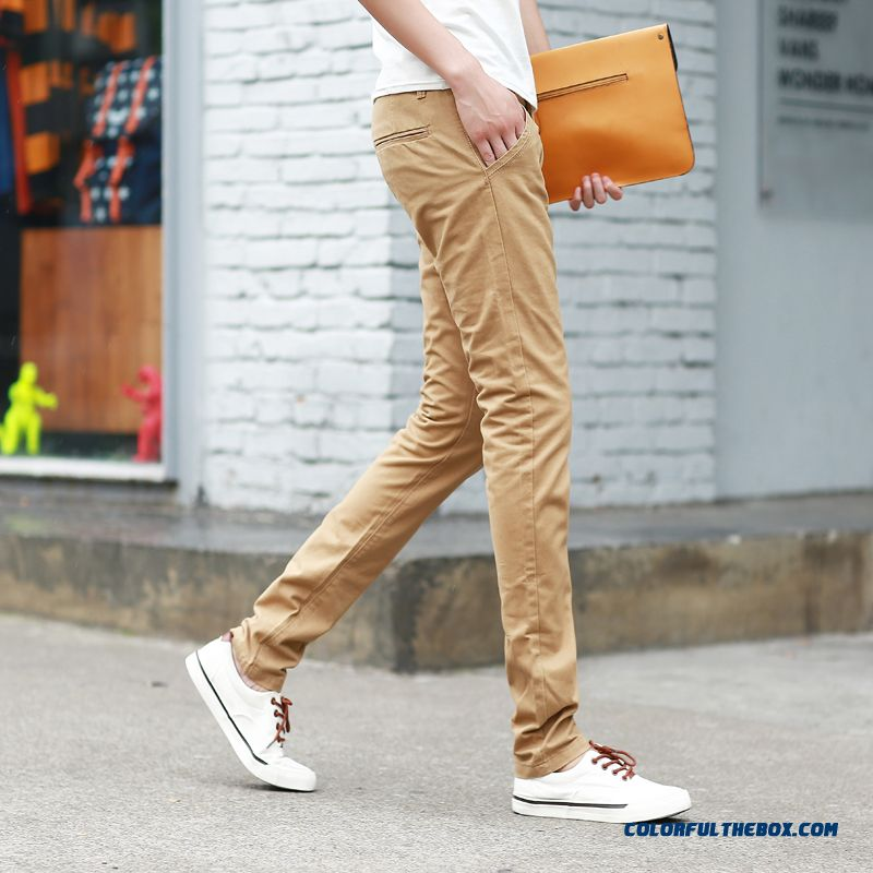 Winter Thick Style Men's Casual Slim Straight Cotton Long Pants Kahaki