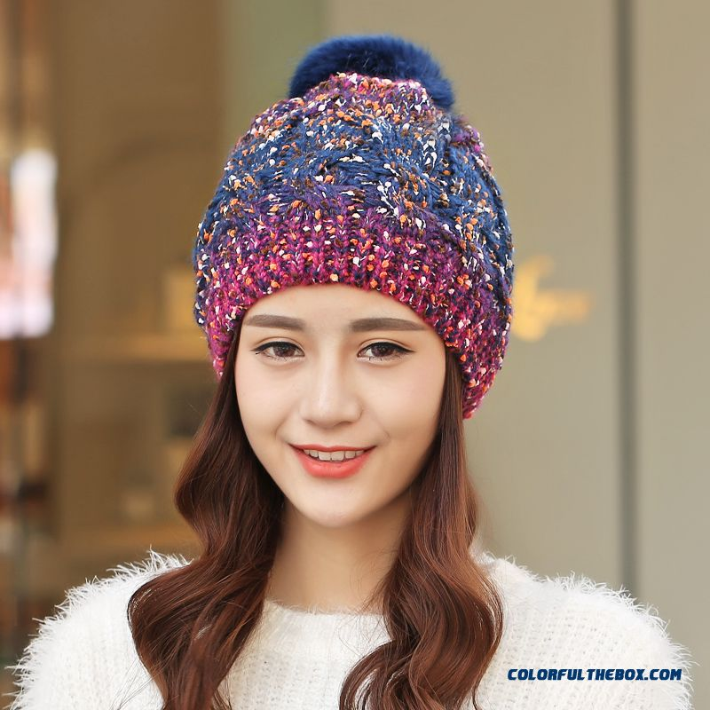... Winter Thick Warm Ovo Ball Knitted Hat Ladies Cute Twist Wool Cap Mixed  Color ... 98ef008f9d4