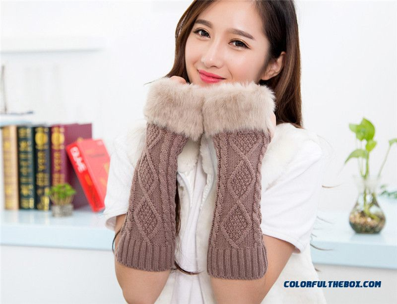 Winter Women Fashionable Accessories Long Arm Knitted Wool Half Finger Mittens Free Shipping