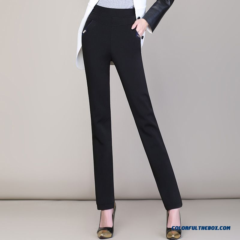 Winter Women Plus Thick Velvet Straight Slim Casual Pants Large Size Long Pants Bottoming Outer Wear