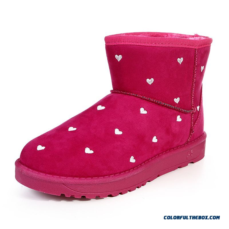 Winter Women Snow Boots Plus Velvet Heart-shaped Flat Bottomed Non-slip Shoes Ankle Boot