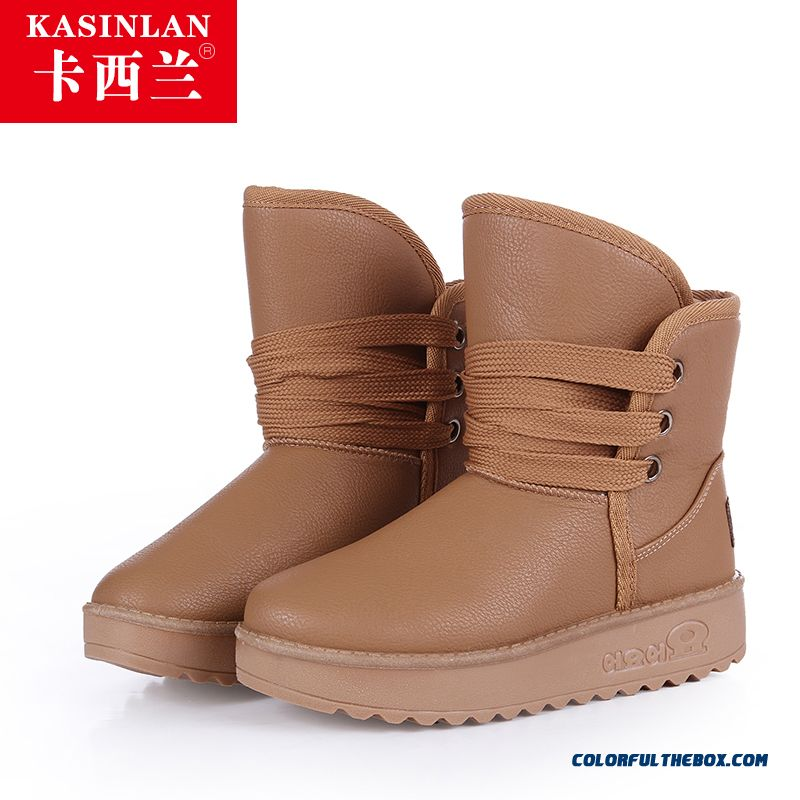Winter Women Snow Boots Pu Skid-resistant Thicken Cotton Shoes Warm