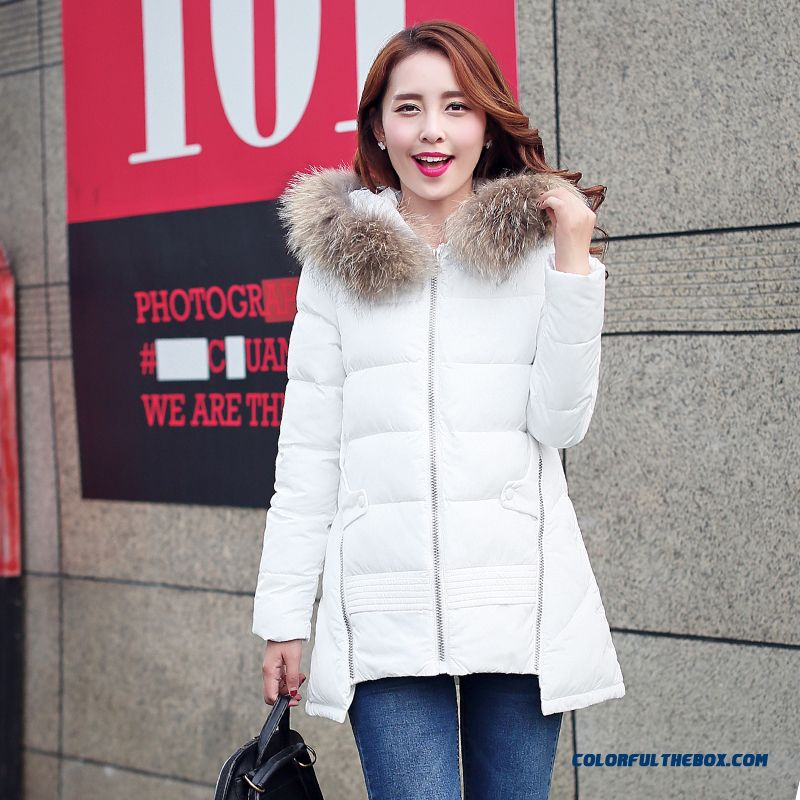 Winter Women's Fur Collar Female Hooded Coat White Black Red Green Sexy