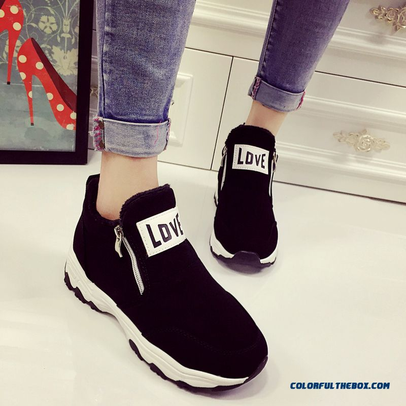 Winter Wram Plus Velcet Thicken Botom Women Casual Shoes With Zipper