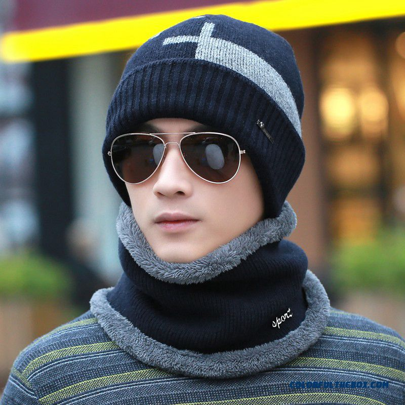 Winter Youth Men Outdoor Korean Fashion Proteced Ear Hat Knitted Wool Cap Warm Thick