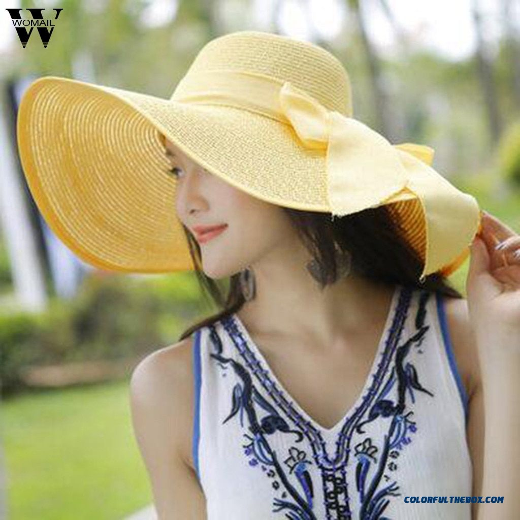 Womail Women Hat Summer Big Brim Straw Hat Sun Floppy Wide Brim Hats New Bowknot Folding Beach Cap Sun Hat 2019 F25