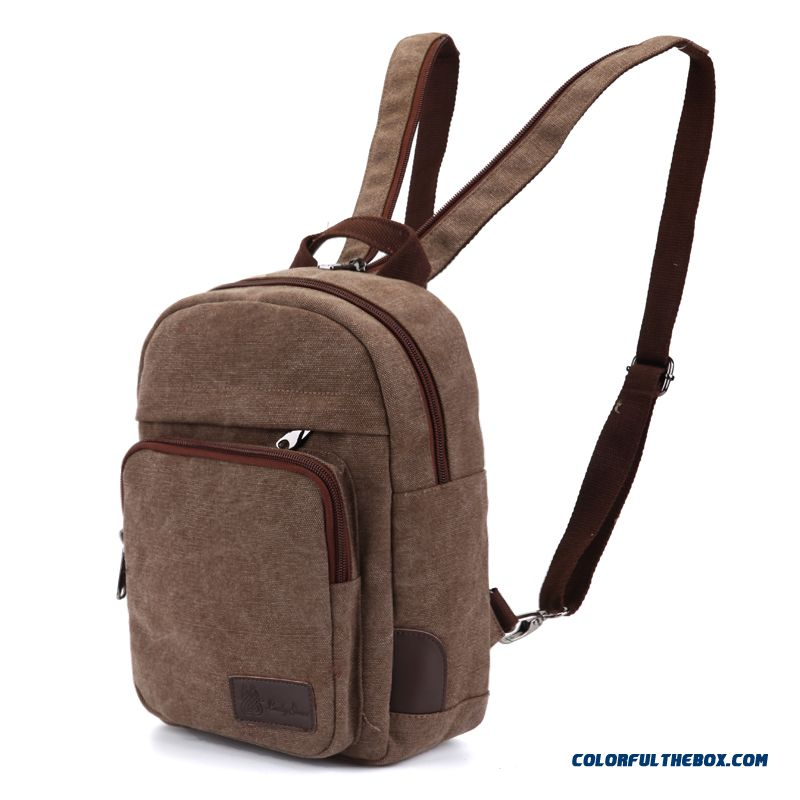 Woman Casual Canvas Shoulder Bags Mini Bags Red Brown Dark Gray Girl Backpack - more images 4