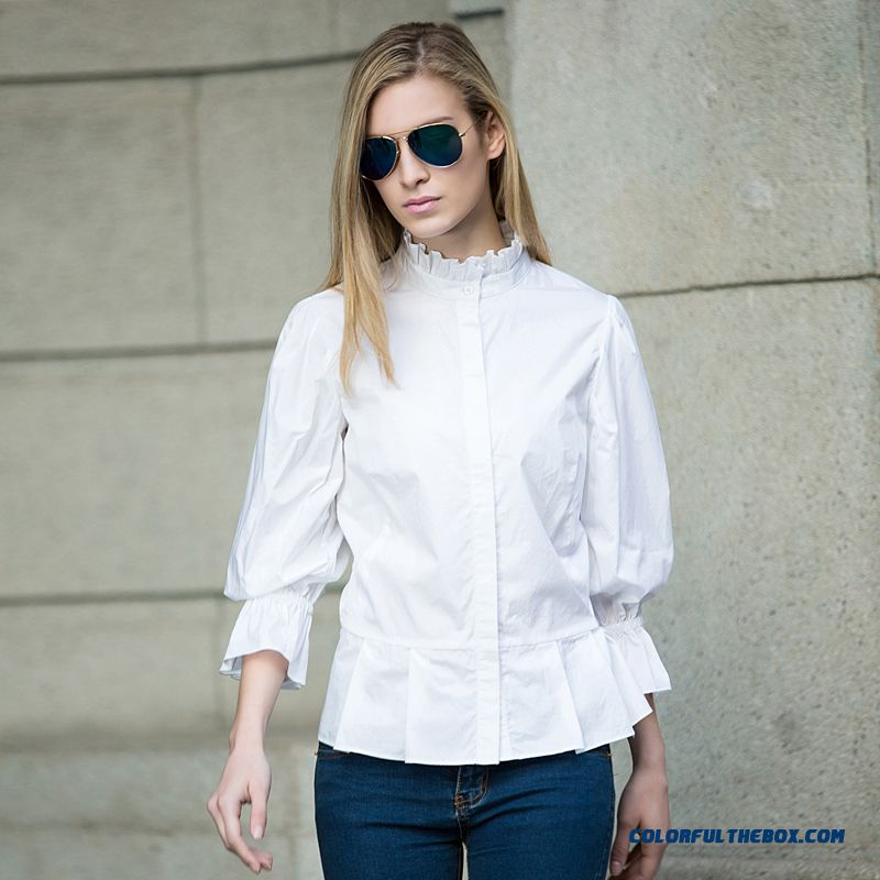 Wome Free Shipping Fashion Loose Long-sleeved White Shirts Standing Collar Shirts
