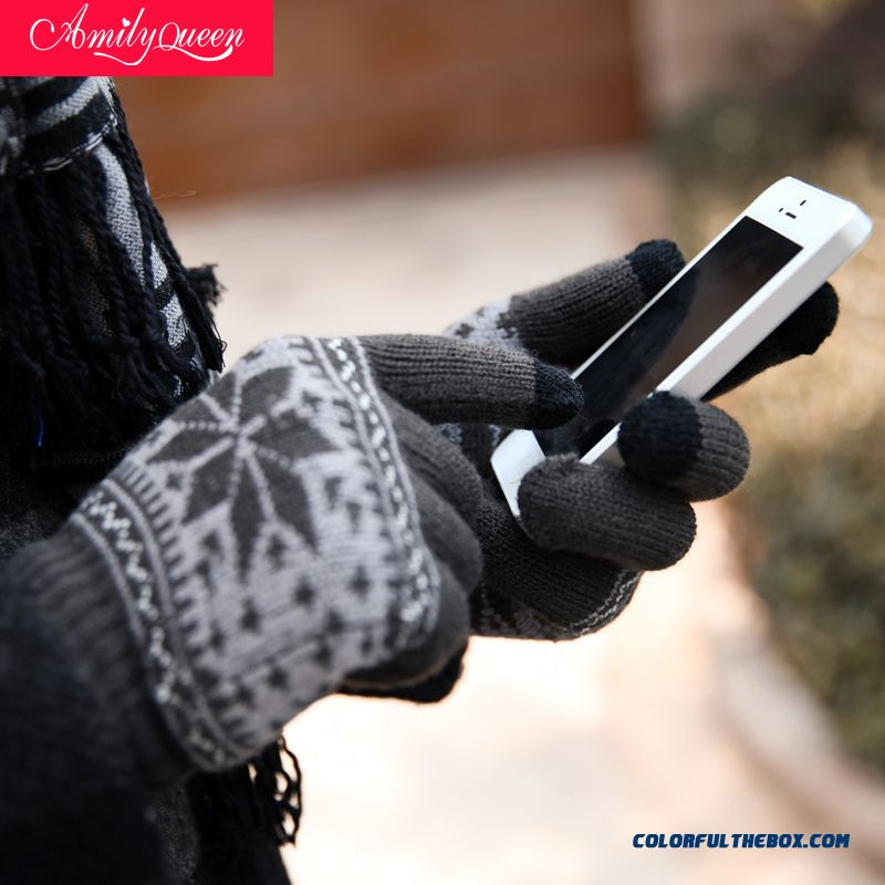 Women Accersories Snowflake Knitted Wool Gloves Touch Screen Mittens Women And Men Couple Models