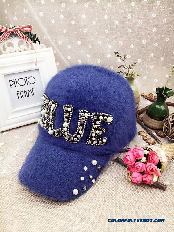 Women Accessories Butterfly Fashion Casual Outdoor Warm Letter Rhinestone Baseball Cap Sunshade Hat Peaked Cap - more images 3