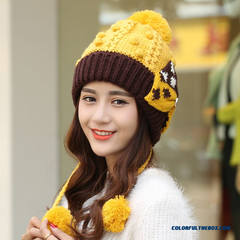 ... Women Accessories Knitted Wool Cap Autumn And Winter Fashion Cute Women  Velvet Warm Cap With Protect 2160d2b2f6