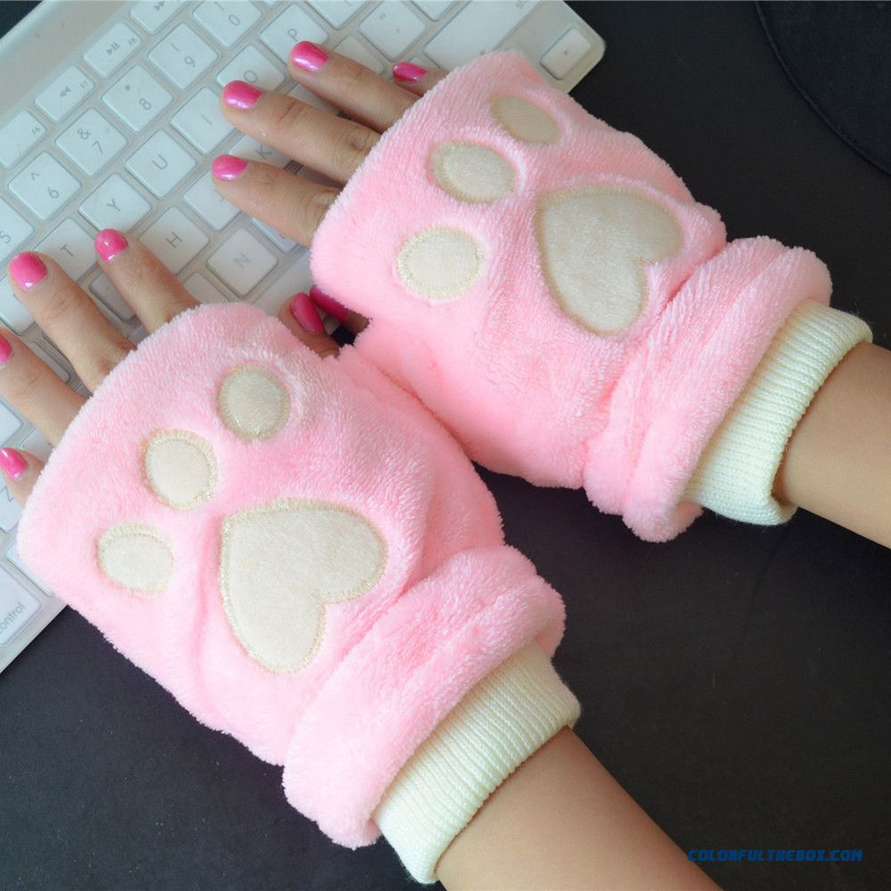 Women And Men Thicker Winter Warm Cute Cartoon Cat Paw Mittens Half-finger Gloves