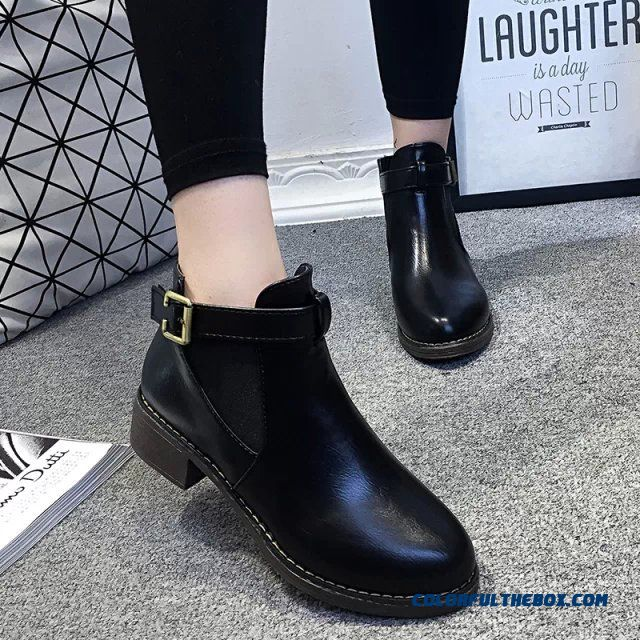 Women Ankle Boot Plus Cotton And Velvet Black Low-heeled Snow Boots With Buckle