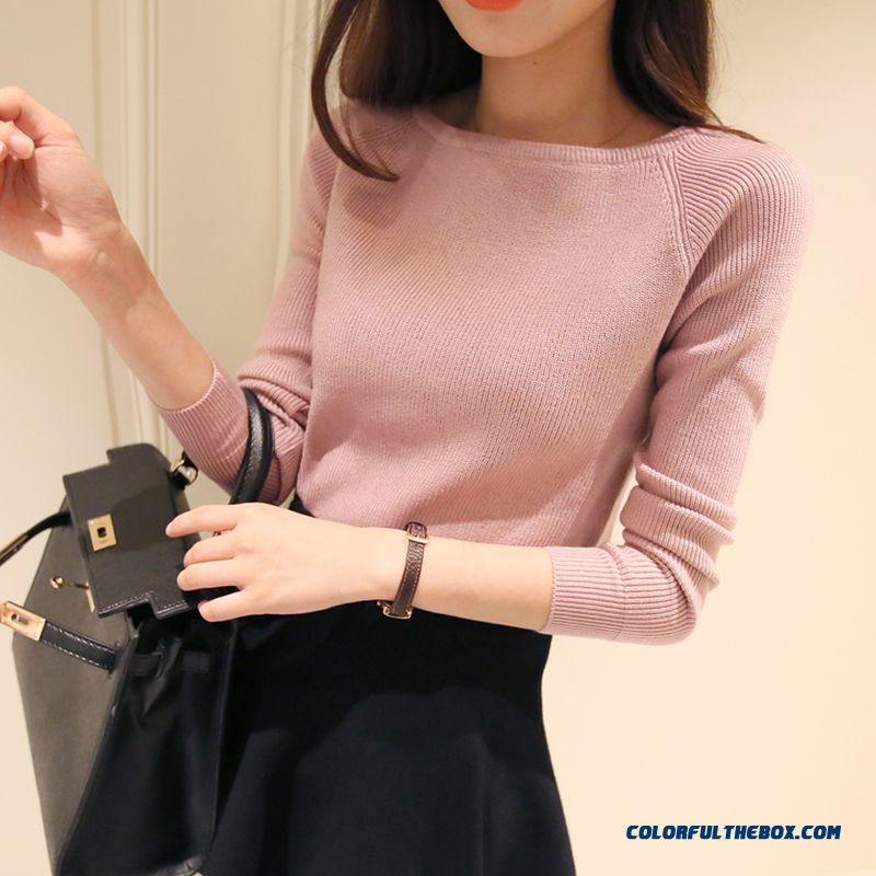 Women Autumn Knitwear Boat Neckline Sweater Short Thin Pull Blouson Bottoming Shirt