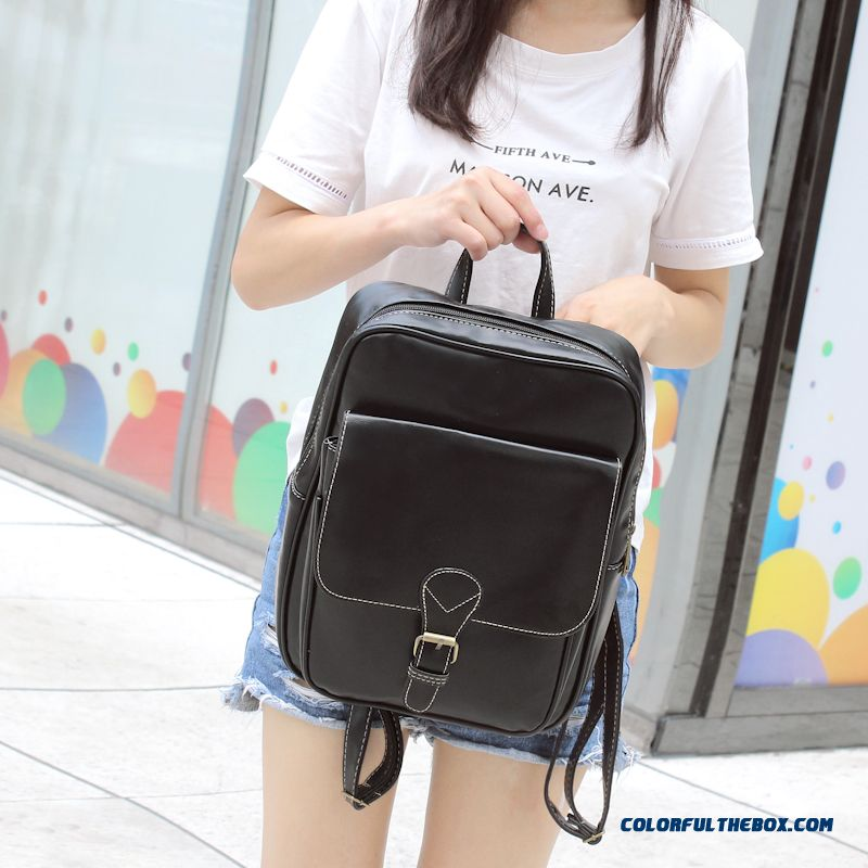 Women Bag British Retro Simplicity Pu Leather Fashion Casual Schoolbags Travel Dual Backpack