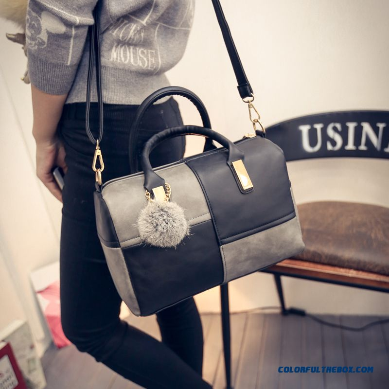 Women Bags Balck And Grey Grid Shoulder Bags Pillow Bags Simple And Elegant