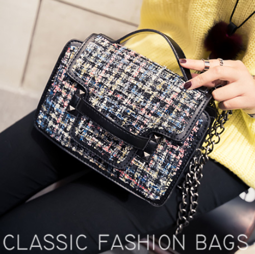 Women Bags Free Shipping Stylish Woolen Chain Shoulder Bags Exclusive Design For Women