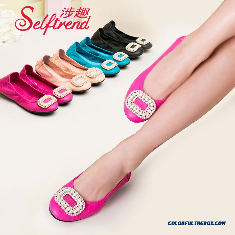 Women Candy-colored Pearl Decoration Square Buckle Soft Leather Flat Shoes