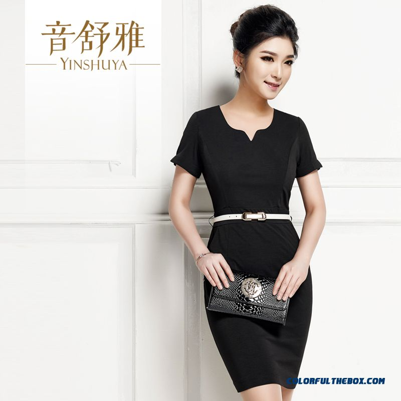 Women Career Dresses Black Elegent Slim Short-sleeved Free Shipping