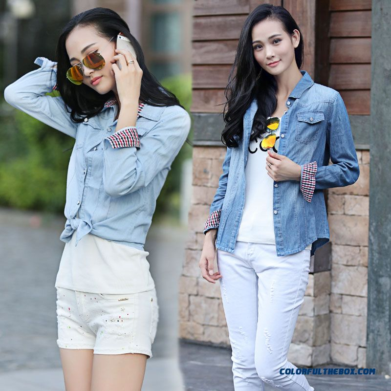 Women Clothing European Style Slim And Thin Light Blue Denim Shirt Blouse