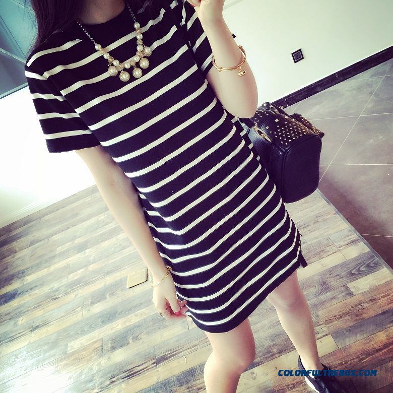 Women Clothing Fashion Striped Short-sleeved Dress Slim Thin Package Hip Medium-long Bottoming Dress