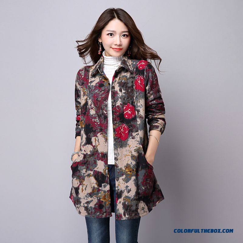 Women Clothing Printing Plus Thick Cotton Shirt Shirts Medium-long Slim Cardigan Gentle And Elegant