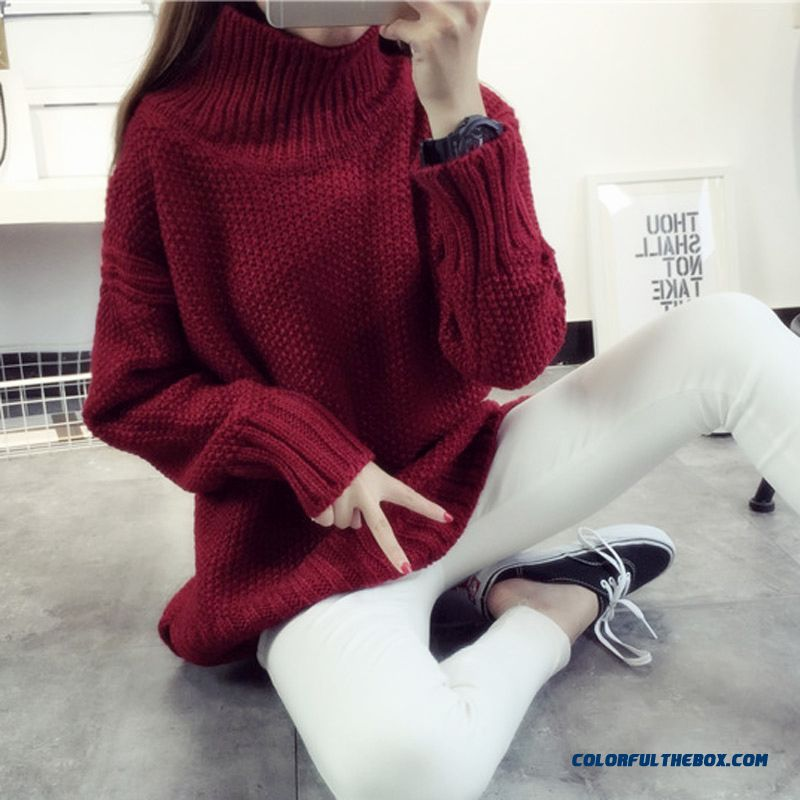 Women Clothing Sweater High Neck Pull Blouson Thick Winter
